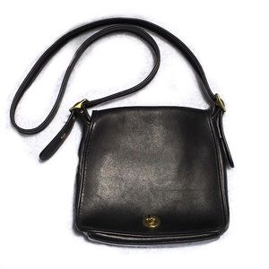 COACH Black Leather Crossbody Bag Purse USA 9715